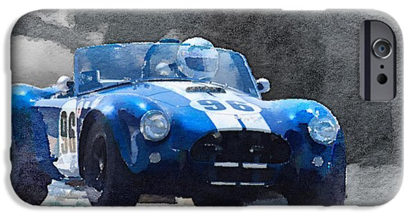 Old Cars iPhone Cases - 1964 AC Cobra Shelby Racing Watercolor iPhone Case by Naxart Studio