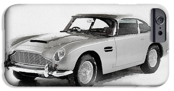 Old Cars iPhone Cases - 1964 Aston Martin DB5 Watercolor iPhone Case by Naxart Studio