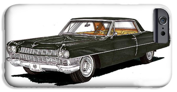 Classic Car Paintings iPhone Cases - 1964 Cadillac Coupe DeVille iPhone Case by Jack Pumphrey