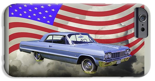 Red White And Blue iPhone Cases - 1964 Chevrolet Impala Muscle Car And American Flag iPhone Case by Keith Webber Jr