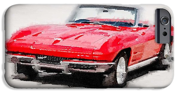 Vintage Car iPhone Cases - 1964 Corvette Stingray Watercolor iPhone Case by Naxart Studio