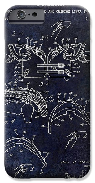 Shoulders iPhone Cases - 1964 Football Shoulder Pads Patent Blue iPhone Case by Jon Neidert