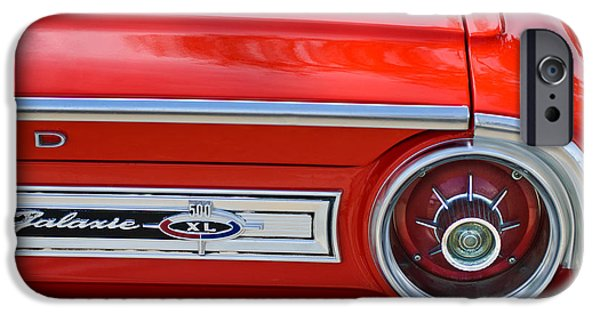 1964 Ford Emblem iPhone Cases - 1964 Ford Galaxie 500XL Taillight Emblem iPhone Case by Jill Reger