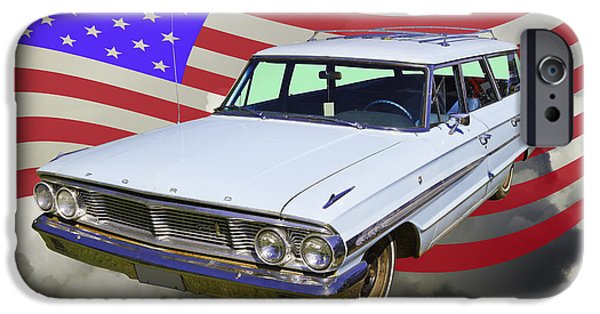 Red White And Blue iPhone Cases - 1964 Ford Galaxy Stationwagon And American Flag iPhone Case by Keith Webber Jr