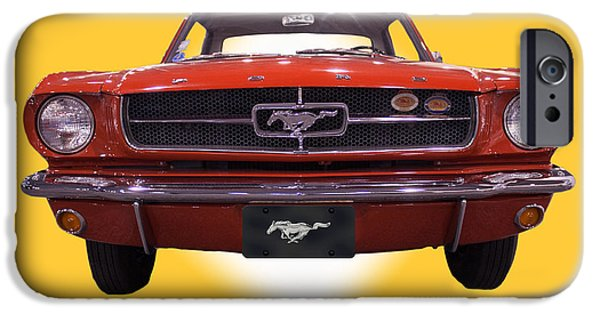 1964 Ford Emblem iPhone Cases - 1964 Ford Mustang iPhone Case by Michael Porchik