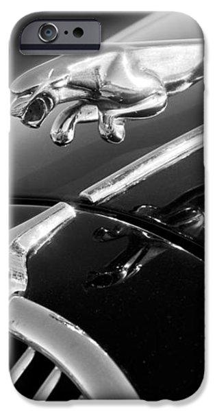 1964 Jaguar MK2 Saloon Hood Ornament and Emblem iPhone Case by Jill Reger