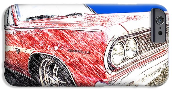 Charlotte Mixed Media iPhone Cases - 1964 Malibu SS iPhone Case by Morgan Carter