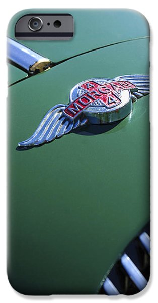 Sixties iPhone Cases - 1964 Morgan 44 Hood Ornament iPhone Case by Jill Reger