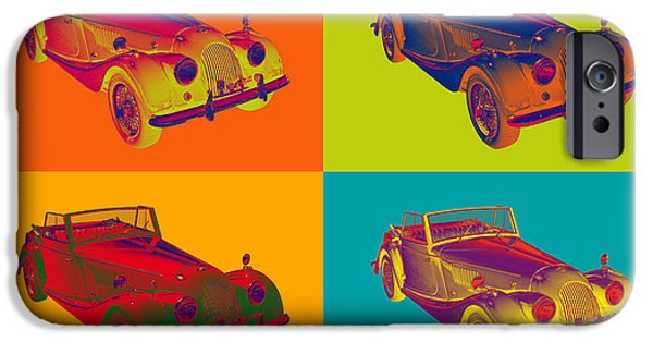 Black Top Digital Art iPhone Cases - 1964 Morgan Plus 4 Convertible Pop Art iPhone Case by Keith Webber Jr