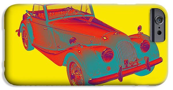 Black Top Digital Art iPhone Cases - 1964 Morgan Plus 4 Convertible Sports Car Pop Art iPhone Case by Keith Webber Jr