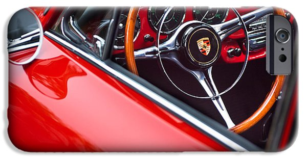Steering iPhone Cases - 1964 Porsche 356 Carrera 2 Steering Wheel iPhone Case by Jill Reger
