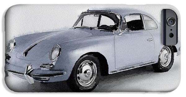 Vintage Car Mixed Media iPhone Cases - 1964 Porsche 356B Watercolor iPhone Case by Naxart Studio