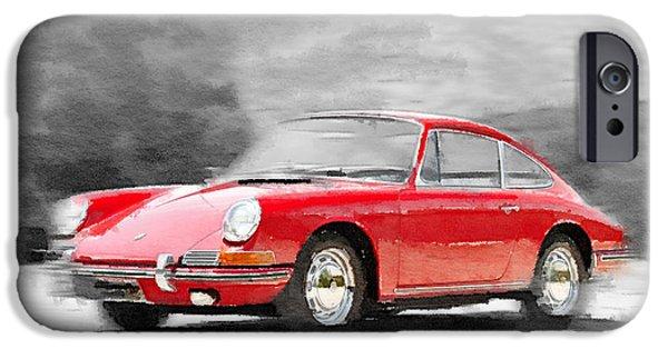 Vintage Car Paintings iPhone Cases - 1964 Porsche 911 Watercolor iPhone Case by Naxart Studio