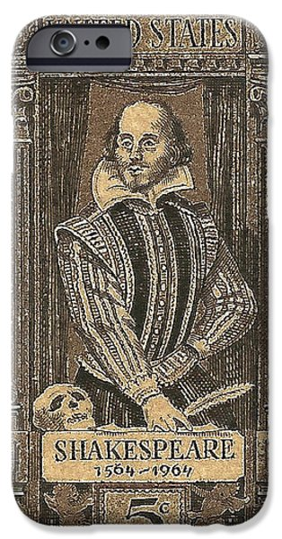 Us Postal Service iPhone Cases - 1964 William Shakespeare Postage Stamp iPhone Case by David Patterson