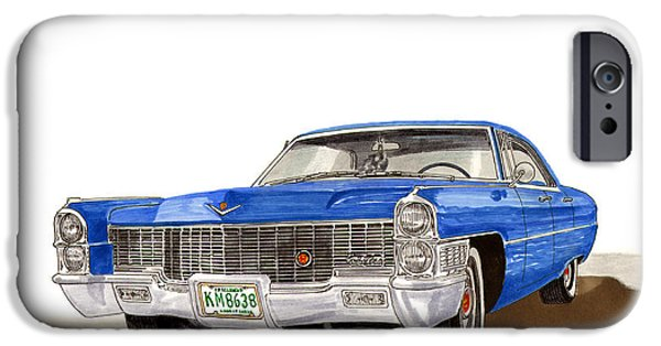 Classic Car Paintings iPhone Cases - 1965 Cadillac DeVille Sedan iPhone Case by Jack Pumphrey
