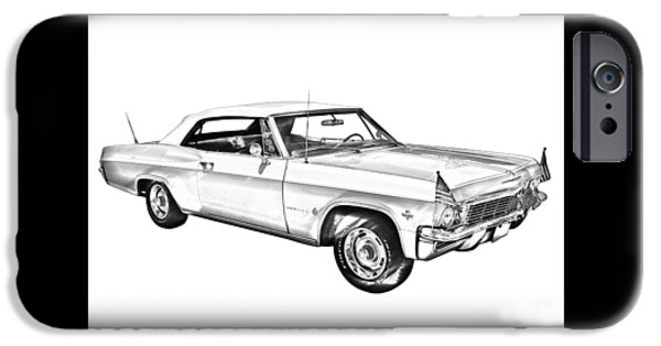 Size iPhone Cases - 1965 Chevy Impala 327 Convertible Illuistration iPhone Case by Keith Webber Jr