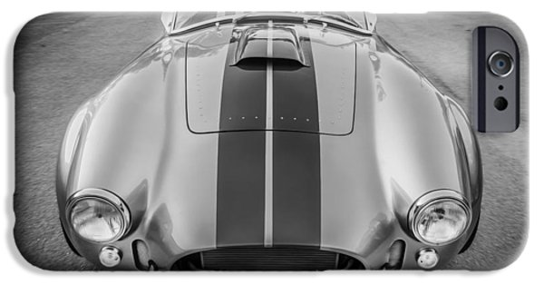 Carroll Shelby iPhone Cases - 1965 Ford AC Cobra Replica Painted BW iPhone Case by Rich Franco