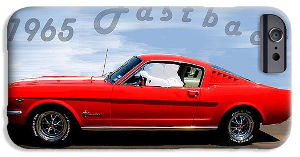 Betty Ford iPhone Cases - 1965 Ford Mustang Fastback iPhone Case by Betty Northcutt