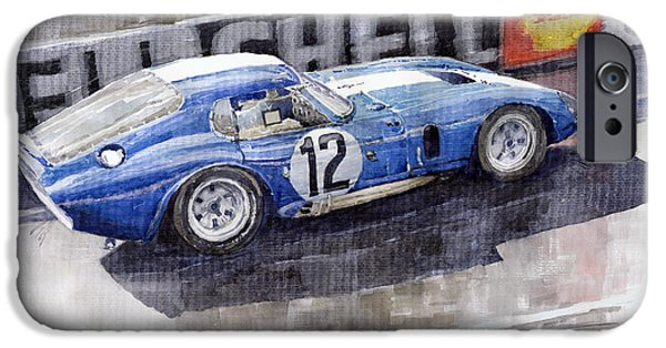 Racing iPhone Cases - 1965 Le Mans  Daytona Cobra Coupe  iPhone Case by Yuriy Shevchuk