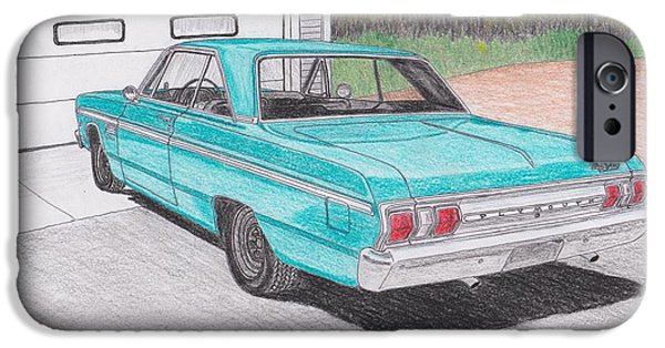 Fury Drawings iPhone Cases - 1965 Plymouth Fury iPhone Case by Darrell Leonard