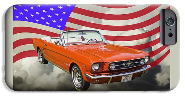 American Flag Digital Art iPhone Cases - 1965 Red Ford Mustang Convertible And American Flag Photo iPhone Case by Keith Webber Jr