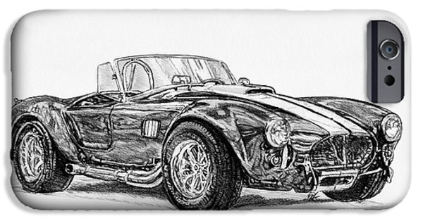 Technology Drawings iPhone Cases - 1965 Shelby AC Cobra iPhone Case by J McCombie