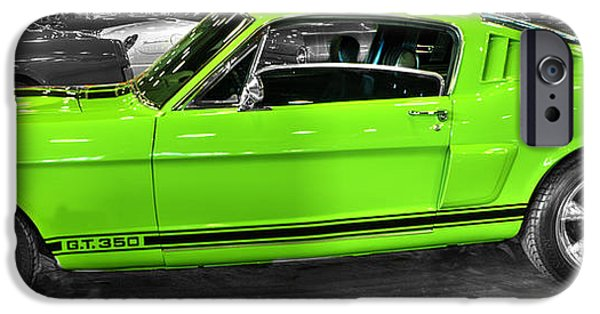 Automotive iPhone Cases - 1965 Shelby Mustang GT350 Cobra v2 iPhone Case by John Straton