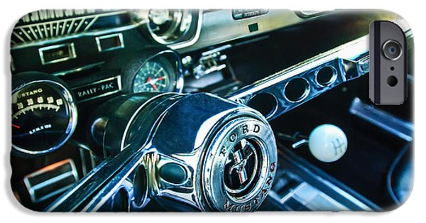 Steering iPhone Cases - 1965 Shelby prototype Ford Mustang Steering Wheel Emblem 2 iPhone Case by Jill Reger