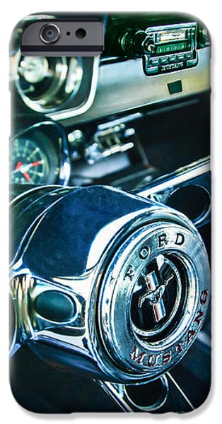 1965 Shelby prototype Ford Mustang Steering Wheel Emblem 2 iPhone Case by Jill Reger