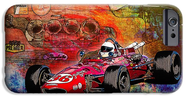 Indy Car iPhone Cases - 1966 9 Eagle Indy iPhone Case by Stuart Row