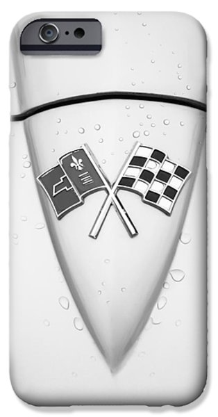 Sting Ray iPhone Cases - 1966 Chevrolet Corvette Sting Ray Emblem -0036bw iPhone Case by Jill Reger