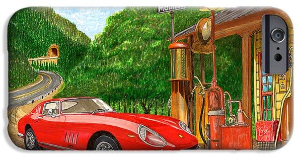 2 Seat iPhone Cases - 1966 Ferrari 275 G B T getting gas iPhone Case by Jack Pumphrey