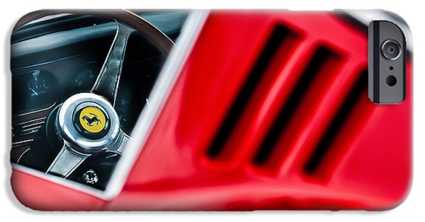 Print Photographs iPhone Cases - 1966 Ferrari 275 Gtb Steering Wheel Emblem -0563c iPhone Case by Jill Reger