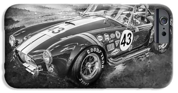Carroll Shelby iPhone Cases - 1966 Ford AC Cobra 427 Big Block BW iPhone Case by Rich Franco