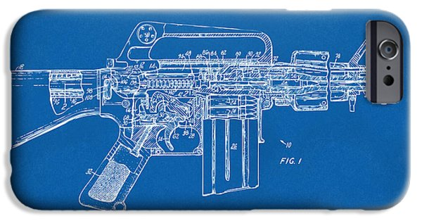 Weapon iPhone Cases - 1966 M-16 Gun Patent Blueprint iPhone Case by Nikki Marie Smith