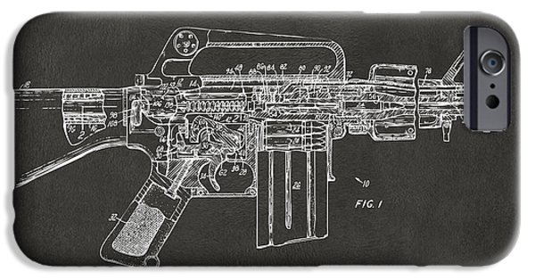 Weapon Digital iPhone Cases - 1966 M-16 Gun Patent Gray iPhone Case by Nikki Marie Smith