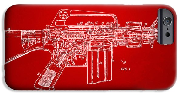 Weapon iPhone Cases - 1966 M-16 Gun Patent Red iPhone Case by Nikki Marie Smith