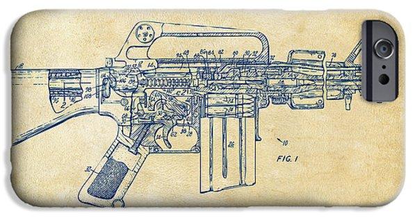 Weapon Digital iPhone Cases - 1966 M-16 Gun Patent Vintage iPhone Case by Nikki Marie Smith