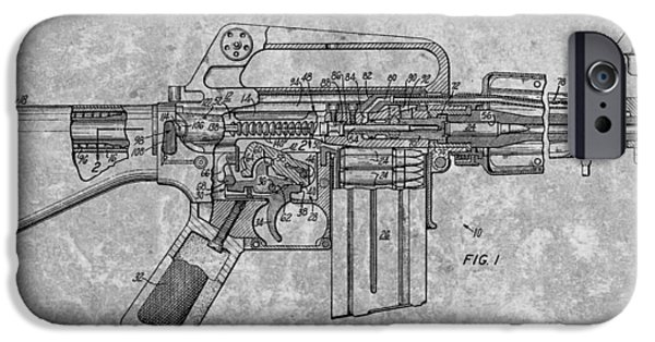 Weapon Drawings iPhone Cases - 1966 Machine Gun Patent Charcoal iPhone Case by Dan Sproul