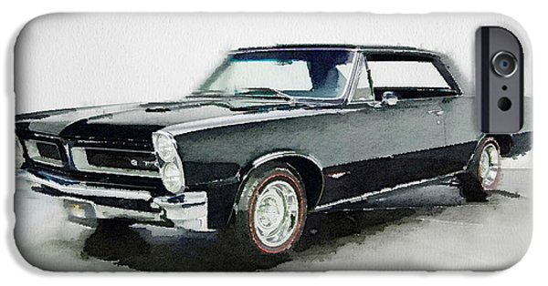 Vintage Car Paintings iPhone Cases - 1966 Pontiac GTO Watercolor iPhone Case by Naxart Studio