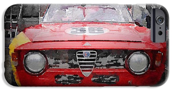 Old Cars iPhone Cases - 1967 Alfa Romeo GTV Watercolor iPhone Case by Naxart Studio