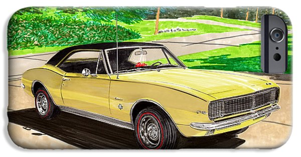 New Generations iPhone Cases - 1967 Camaro RS art iPhone Case by Jack Pumphrey