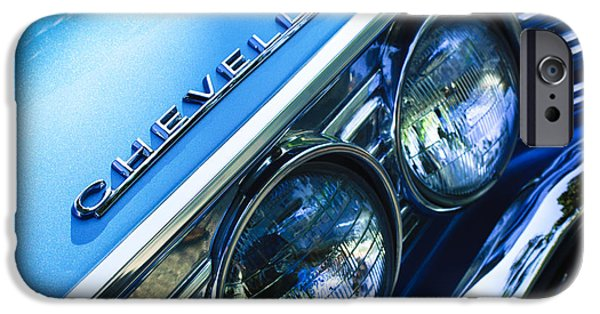 Landmarks Photographs iPhone Cases - 1967 Chevrolet Chevelle Malibu Head Light Emblem iPhone Case by Jill Reger