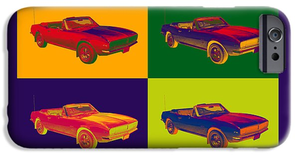 Warhol iPhone Cases - 1967 Convertible Camaro Muscle Car Pop Art iPhone Case by Keith Webber Jr