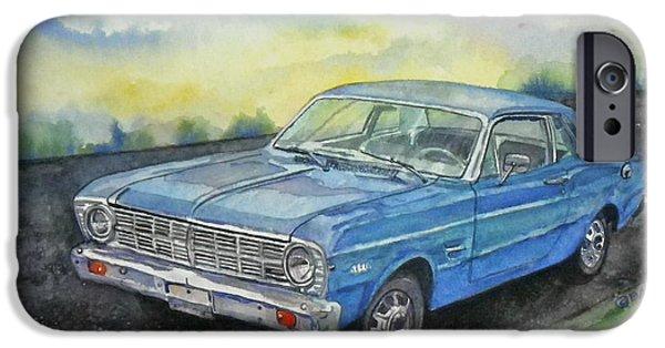Asphalt Paintings iPhone Cases - 1967 Ford Falcon Futura iPhone Case by Anna Ruzsan