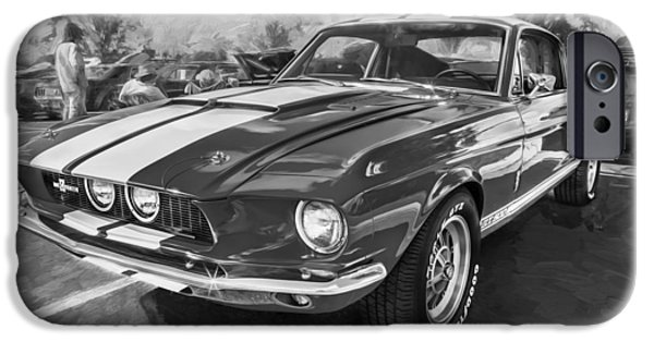 Police Cruiser iPhone Cases - 1967 Ford Shelby Mustang GT500 Painted BW iPhone Case by Rich Franco