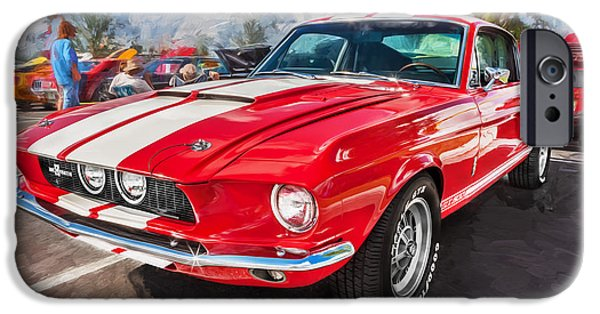 Police Cruiser iPhone Cases - 1967 Ford Shelby Mustang GT500 Painted  iPhone Case by Rich Franco