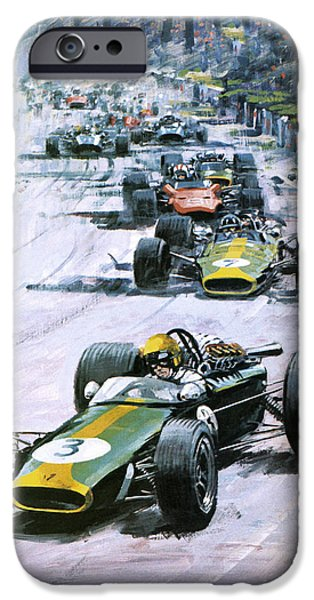 Pursuit iPhone Cases - 1967 French Grand Prix iPhone Case by Graham Coton