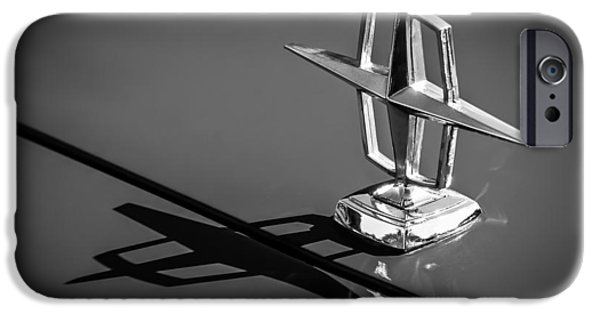 Lincoln iPhone Cases - 1967 Lincoln Continental Hood Ornament -1204bw iPhone Case by Jill Reger