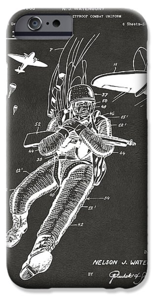 Bang iPhone Cases - 1968 Bulletproof Patent Artwork Figure 14 Gray iPhone Case by Nikki Marie Smith